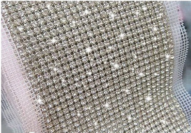 24 Rows Clear Crystal Rhinestone Mesh Trim 5mm Chain Silver 5 yds/roll