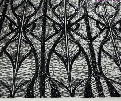 1 yard white/matte gold/black sequins on mesh embroidery lace fabric elastic sequins gown dress