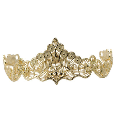 Gold Color Wedding Tiaras Hair Jewelry Hollow Out Metal Wave Line Crown