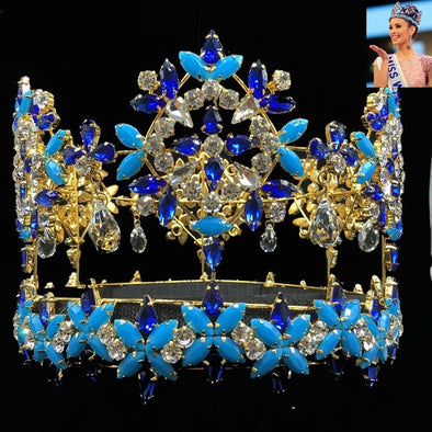 Blue Crystal Rhinestone Baroque Crown Tiara Full Round Miss World Princess Queen Cosplay