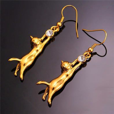 Cat Earrings Dangle Lovely Gold Silver Color Rhinestone Fashion Jewelry