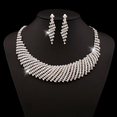 Wedding Jewelry Rhinestone Crystal Choker Necklace Earrings Set Silver Plated Bridal Jewelry Set