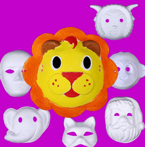 Lot of 350 Blank White Masquerade Kids Mask Mardi Gras Christmas DIY - Cosplay Infinity