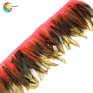 "Dipped gold dyed Natural rooster feather fringe trim Height 6-8"" Feathers Ribbon Cosplay"