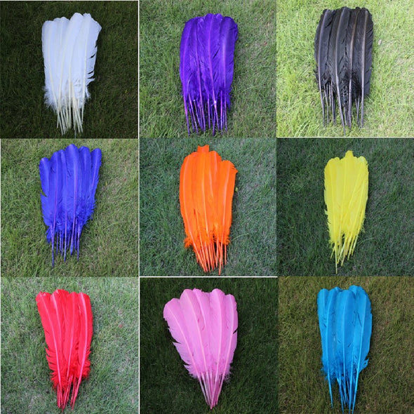 100pcs/Lot TURKEY QUILLS 25-30cm /10-12inches Dyed Craft TURKEY Wing Feathers
