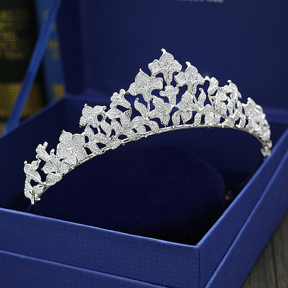 Paved CZ Crown Full Cubic Zircon Tiara Diadem Wedding Hair Accessories Bride Hair Jewelry