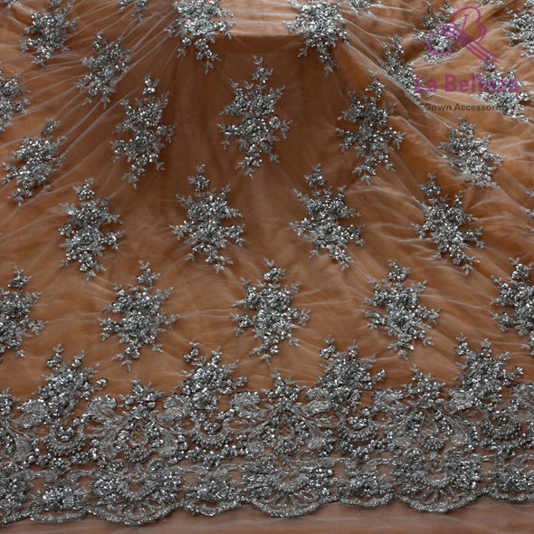 1yd Super Heavy Beading Handmade Lace Fabric deep blue/royal blue /wine/black wedding dress lace fabric 49'' width