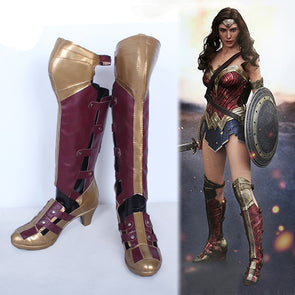 Wonder Woman Cosplay Shoes Diana Princess Hollow Out High heel Long Boots