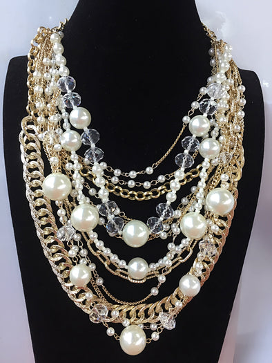 Trendy Pearl /Chains Fashion Pendant Choker Statement Necklace Costume Jewelry Women