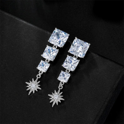 Luxury Cubic Zirconia Silver Color Star Pendant Earrings Crystal CZ Snowflake Earring For Women Girls Jewelry Accessories