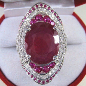 925 Sterling Silver CZ Stone Ring Bamos Big Red Agate Cubic Zircon Ring Party Wedding Cocktail Rings