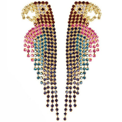 High Quality Cubic Zircon Rhinestone Parrot Gold Dangle Tassel Drop Earrings