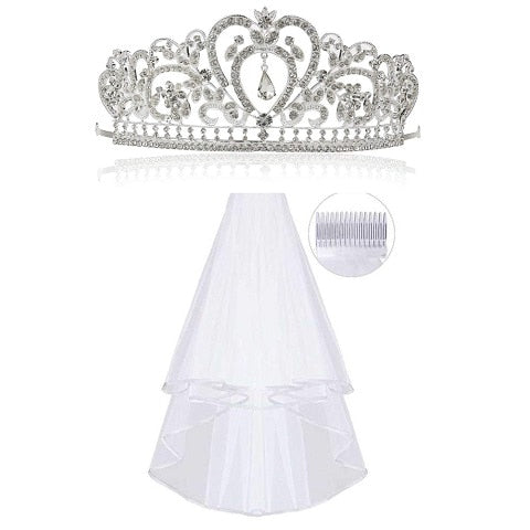 1 Rhinestone Tiara, 1 Wedding Veil with Comb, Crowns Tiaras Bridal Silver Wedding Hair Accessories