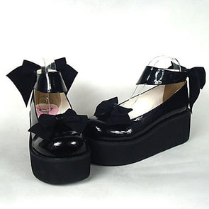 Black Patent Leather High Heel Sweet Shoes with Bow