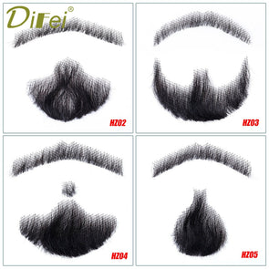 Human Hair Mustache Fake Beard Props Invisible Fake Weave Mustache Makeup