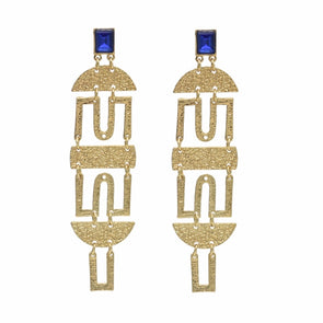 Ancient Bohemian Big Gold Metal Geometric Shape Rhinestone Dangling Earrings Chandelier
