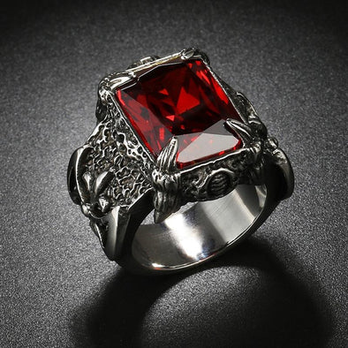 Punk Men Vintage Antique Rings Jewelry Titanium Stainless Steel Dragon Claw Red Blue AAAAA Cz Stone Crystal Ring