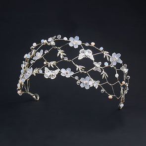 Handmade Butterfly White Floral Wedding Hair Tiara Crown Headband Wedding Hair Accessories