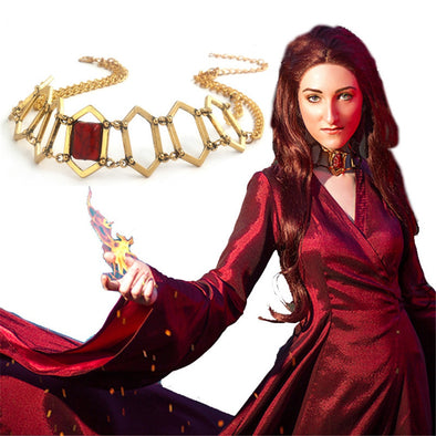 Cosplay The Song Of Ice And Fire Game Of Thrones Melisandre Choker Necklace Red Priestess Geometric Necklace Gold Chain Prop