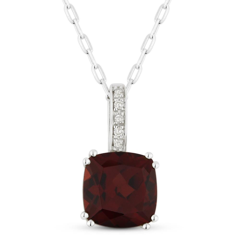 White Gold Garnet & Diamond Pendant