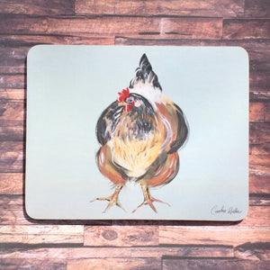 Cork backed placemat, printed with a chicken illustration by Caroline Walker.