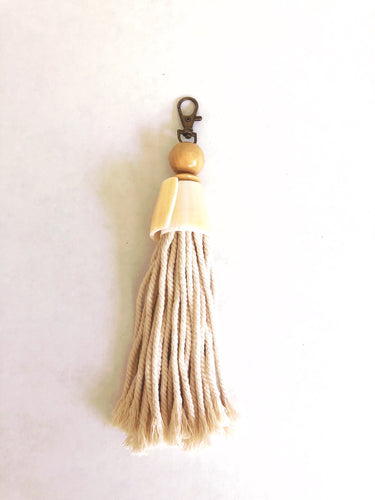 White Cone Shell Keychain with Tassel