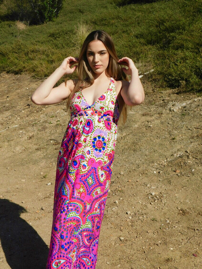 1960's Vintage High Tide of California Maxi Dress
