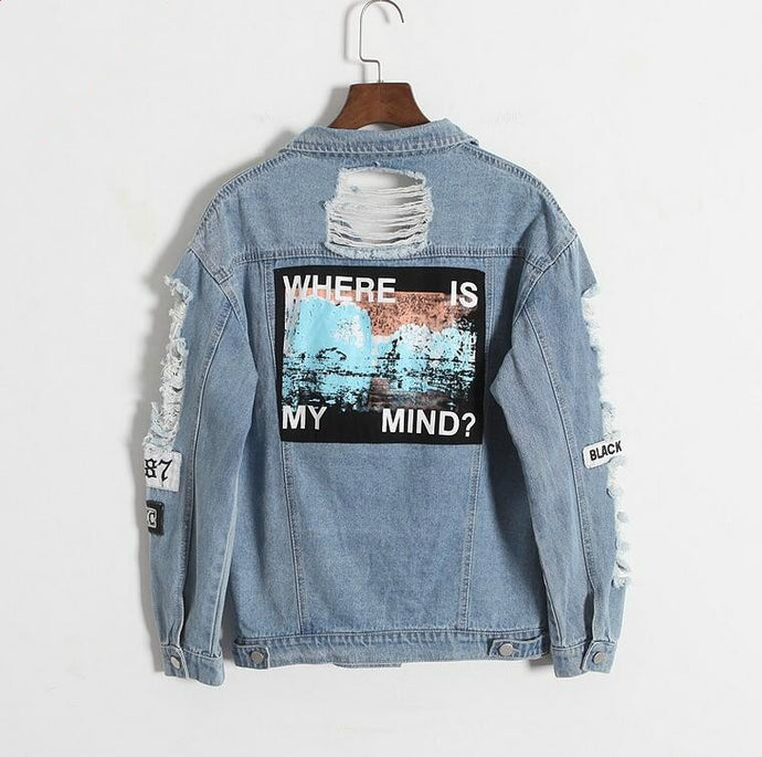 'Where is my mind?' Korean Distressed Denim Jacket