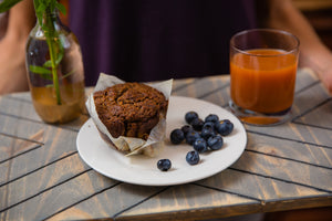 APPLE pie muffin, with side of fresh blueberries, and sunrise juice.