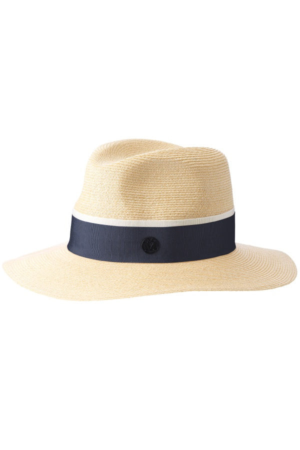 Maison Michel Timeless Henrietta Straw Hat - Natural/ Navy