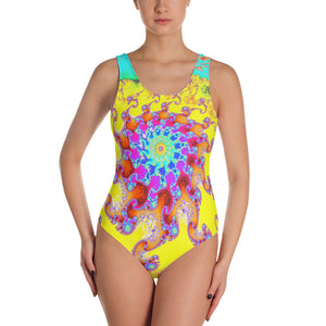 Tropical Octopus Fractal Pattern One-Piece Swimsuit by Amanda Martinson