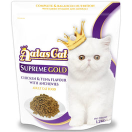 FREE CANNED FOOD: Aatas Cat Supreme Gold Chicken & Tuna Flavour with Anchovies Dry Cat Food 1.2kg
