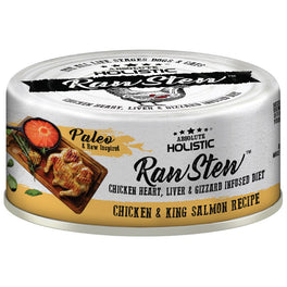 6 FOR $9.90: Absolute Holistic Raw Stew Chicken & King Salmon Grain-Free Canned Cat & Dog Food 80g