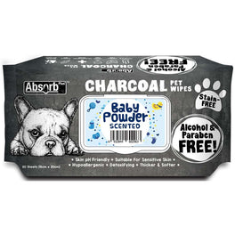 3 FOR $15: Absorb Plus Charcoal Baby Powder Scented Pet Wipes