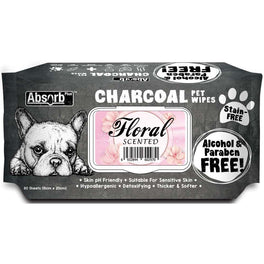 3 FOR $15: Absorb Plus Charcoal Floral Scented Pet Wipes