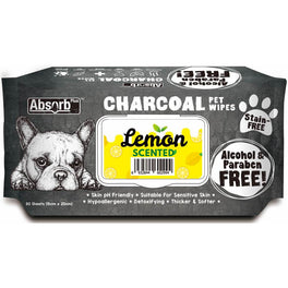 3 FOR $15: Absorb Plus Charcoal Lemon Scented Pet Wipes