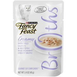 10% OFF: Fancy Feast Creamy Broths Wild Salmon & Whitefish Pouch Cat Food 40g