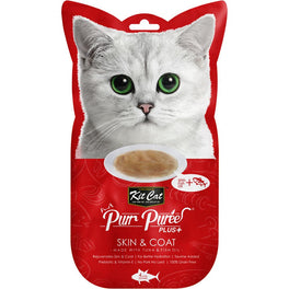 15% OFF: Kit Cat Purr Puree Plus Skin & Coat Tuna Cat Treats 60g