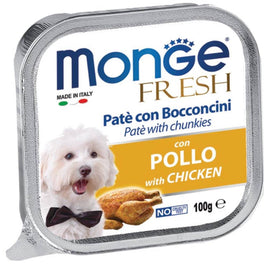 Monge Fresh Chicken Pate with Chunkies Tray Dog Food 100g