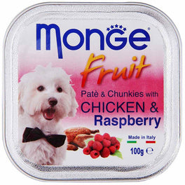 Monge Fruit Chicken & Raspberry Pate with Chunkies Tray Dog Food 100g