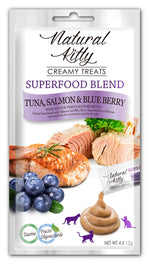 3 FOR $11: Natural Kitty Superfood Blend Tuna, Salmon & Blueberry Creamy Liquid Cat Treats 48g