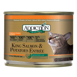 'UP TO 30% OFF': Addiction King Salmon & Potatoes Canned Cat Food 185g