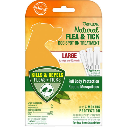 TropiClean Natural Flea & Tick Dog Spot-On Treatment (Large) 3ct