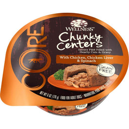 BUY 3 GET 1 FREE: Wellness CORE Chunky Centers Chicken, Chicken Liver & Spinach Wet Dog Food 6oz