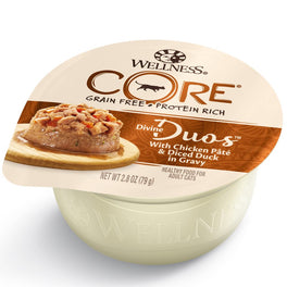 BUY 3 GET 1 FREE: Wellness CORE Divine Duos Chicken Pate & Diced Duck In Gravy Wet Cat Food 2.8oz
