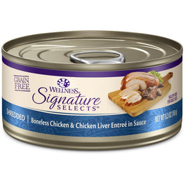 BUY 3 GET 1 FREE: Wellness CORE Signature Selects Shredded Chicken & Chicken Liver Canned Cat Food 5.3oz