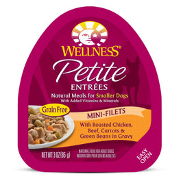 BUY 3 GET 1 FREE: Wellness Petite Entrees Mini-Filets Roasted Chicken, Beef, Carrots & Green Beans in Gravy Cup Tray Dog Food 85g