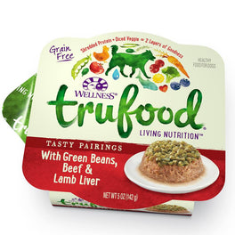 BUY 3 GET 1 FREE: Wellness TruFood Tasty Pairings Green Beans, Beef & Lamb Liver Cup Tray Dog Food 5oz