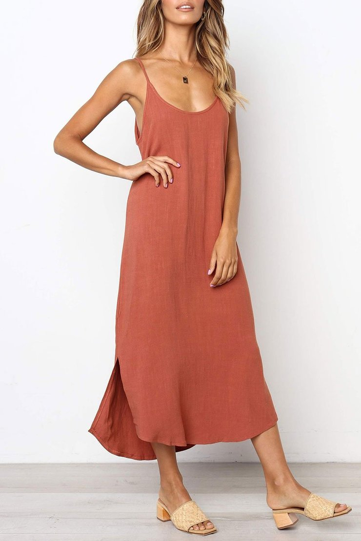 Vee Spaghetti Strap Sleeveless Maxi Party Beach Dress