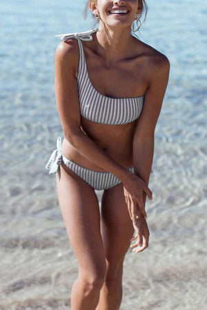Vee One Shoulder Bikini Bandage Striped Swimwear